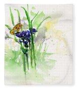 Flowers And Butterfly Fleece Blanket