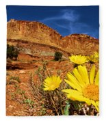 Flowers And Buttes Fleece Blanket