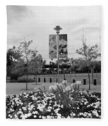 Flowers At Citi Field In Black And White Fleece Blanket