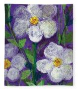 Flowers In Moonlight Fleece Blanket