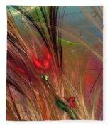 Flowers In The Grass Fleece Blanket