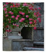 Flowers On The Steps Fleece Blanket