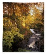 Flowing Water Through A Forest Fleece Blanket