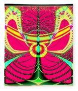 Fluorescent Butterfly Fractal 68 Fleece Blanket