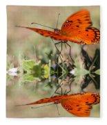 Fluttering Reflections - Butterfly Fleece Blanket