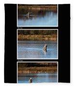 Fly Fishing Triptych Black Background Fleece Blanket