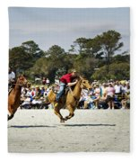 Flying At The Marsh Tacky Races Fleece Blanket