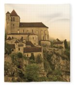 Fog Descending On St Cirq Lapopie In Sepia Fleece Blanket