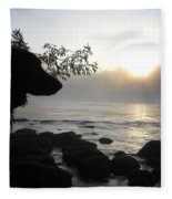 Fog On The Rocks Sunrise Fleece Blanket
