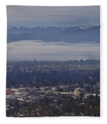 Fog Over A Grants Pass Morning Fleece Blanket