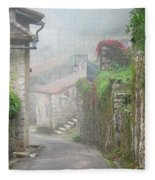 Foggy Lane In St Cirq Fleece Blanket