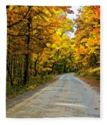 Follow The Yellow Leafed Road Painted Fleece Blanket