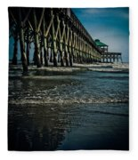 Folly Beach Pier Fleece Blanket