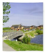 Foot-bridge And Lake - Barton Marina Fleece Blanket