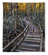 Footpath In Mangrove Forest Fleece Blanket