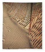 Footprints On The Beach Along A Fence Fleece Blanket