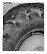Ford Tractor In Black And White Fleece Blanket
