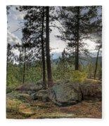 Forest Boulder Formation Near Red Lake Washington Fleece Blanket