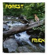 Forest Friends Sharing A Log Over A Creek On Mt Spokane Fleece Blanket