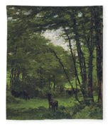 Forest Of Fontainebleau Fleece Blanket