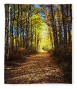 Forest Path In Autumn Fleece Blanket