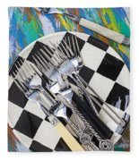 Forks On Checker Plate Fleece Blanket