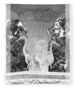 Forsyth Fountain - Black And White 4 Fleece Blanket