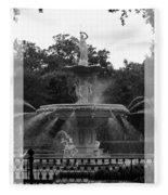 Forsyth Park Fountain - Black And White Fleece Blanket
