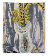 Forsythia In Old Clear Vase Mary Carol Fleece Blanket