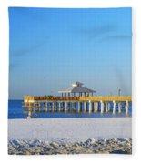 Fort Myers Beach Pier Fleece Blanket
