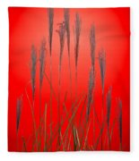 Fountain Grass In Red Fleece Blanket
