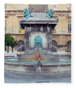 Fountain In Arles France Fleece Blanket