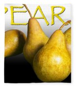 Four Pears With Yellow Lettering Fleece Blanket