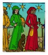 Four Temperaments, Medieval Woodcut Fleece Blanket