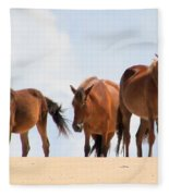 Four Wild Mustangs Fleece Blanket