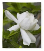 Fragrant White Gardenia Blossom Fleece Blanket
