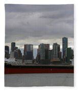 Freighter In Port Fleece Blanket