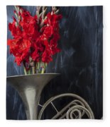 French Horn With Gladiolus Fleece Blanket