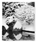 Fresh Snow And Reflections In A Japanese Garden 1 Fleece Blanket