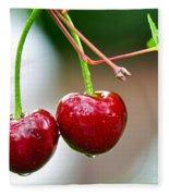 Fresh Wet Cherries Fleece Blanket