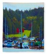 Friday Harbor Docks Fleece Blanket