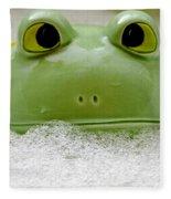 Frog In The Bath  Fleece Blanket
