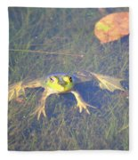 Froggie Sitting In The Water Fleece Blanket