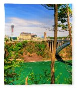 From Usa To Can Over The Rainbow Bridge Fleece Blanket