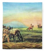 Frontiersmen And Native American Fleece Blanket