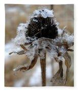 Frost And Snow On Dead Daisy Fleece Blanket