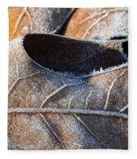 Frost On Oak Leaf Fleece Blanket