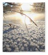 Frosty Ice At Sunrise Fleece Blanket