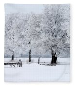 Frosty Morning On Old Wagon Wheels Fleece Blanket