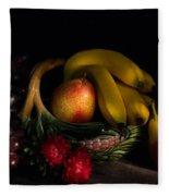 Fruit Still Life With Wine Fleece Blanket
